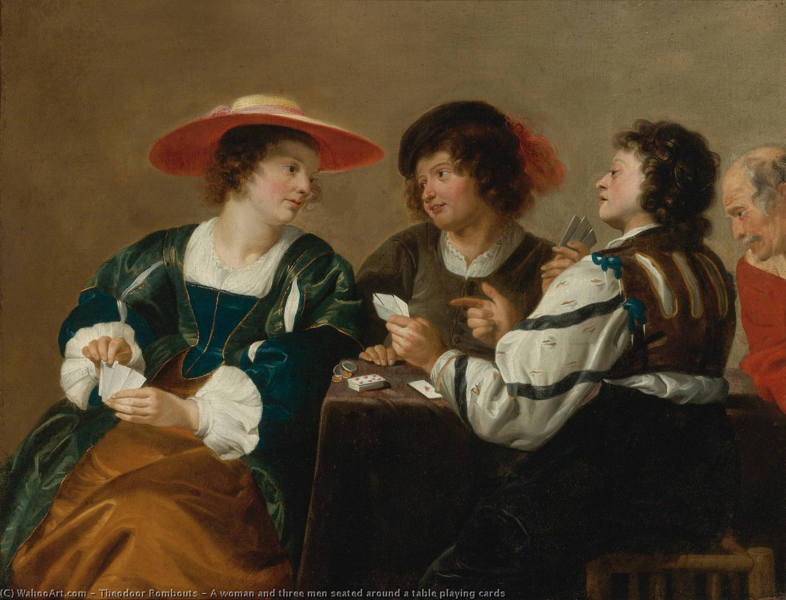 A woman and three men seated around a table playing cards by Theodor Rombouts (1597-1637, Belgium) | Oil Painting | WahooArt.com