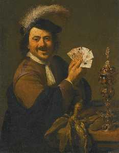 Theodor Rombouts - A card player showing his hand