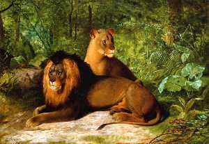 James Henry Beard - Lion and Lioness