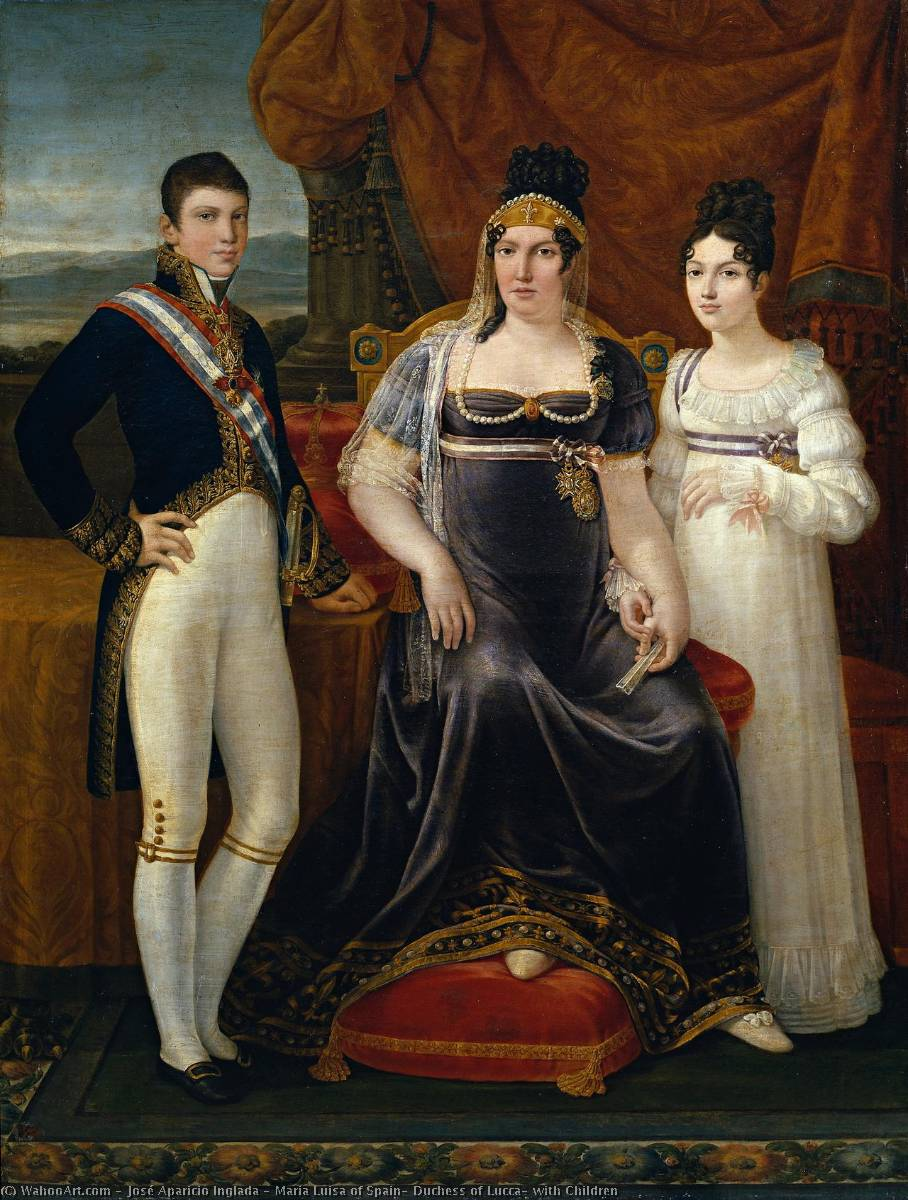 Maria Luisa of Spain, Duchess of Lucca, with Children by José Aparicio Inglada (1773-1838) | Museum Quality Reproductions | WahooArt.com