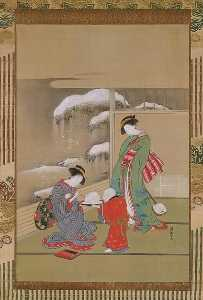Isoda Koryūsai - 雪兎図 Painting the Eyes on a Snow Rabbit