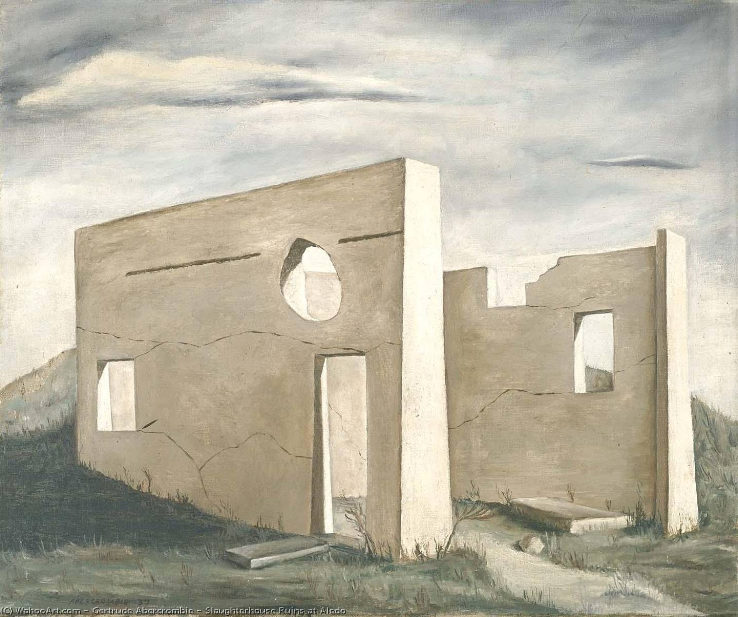 Slaughterhouse Ruins at Aledo, 1937 by Gertrude Abercrombie (1909-1977, United States) | Famous Paintings Reproductions | WahooArt.com