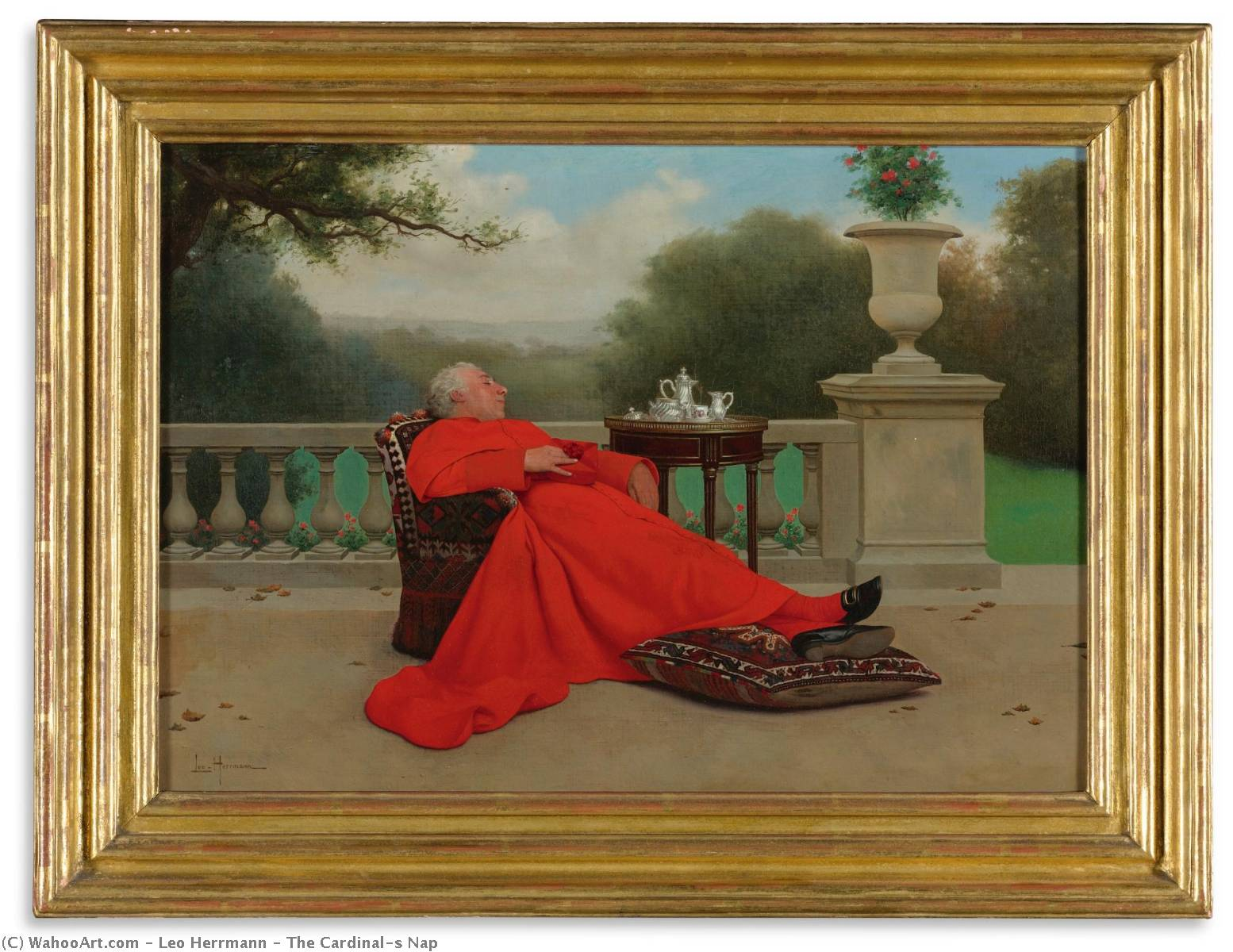 The Cardinal`s Nap by Leo Herrmann (1853-1927) | Art Reproductions Leo Herrmann | WahooArt.com