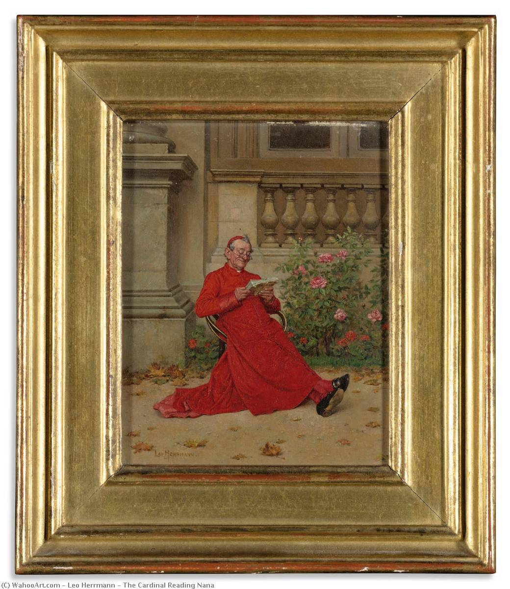 Order Museum Quality Copies | The Cardinal Reading Nana by Leo Herrmann (1853-1927) | WahooArt.com