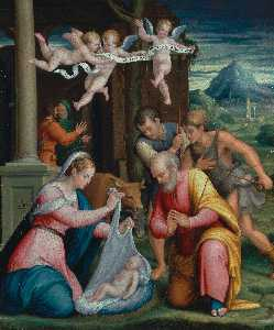Luca Longhi - the Adoration of the shepherds