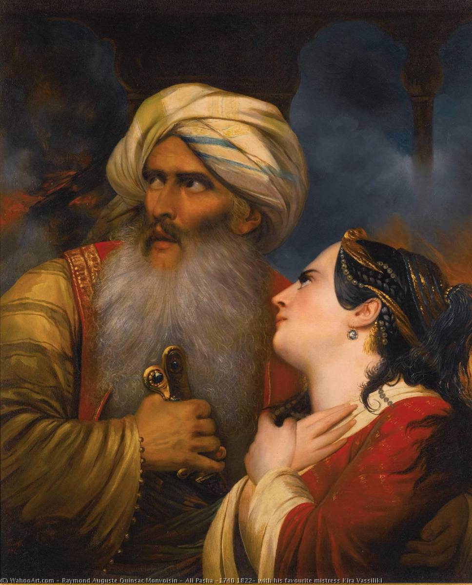 Ali Pasha (1740 1822) with his favourite mistress Kira Vassiliki, Oil On Canvas by Raymond Auguste Quinsac Monvoisin (1790-1870)
