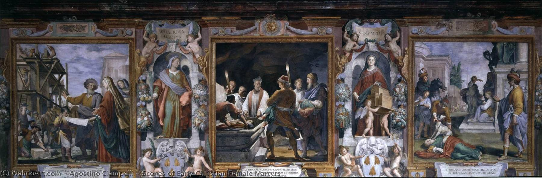 Order Art Reproductions | Scenes of Early Christian Female Martyrs, 1622 by Agostino Ciampelli (1578-1630) | WahooArt.com