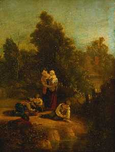 Augustus Wall Callcott - Landscape with mother and children