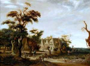 Govert Dircksz Camphuysen - Landscape with Houses and Figures