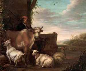 Govert Dircksz Camphuysen - A Herdsman with Cattle, Sheep and Goats
