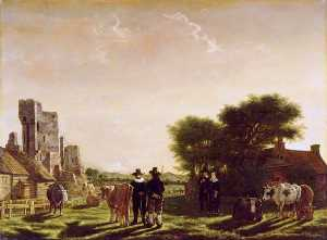 Govert Dircksz Camphuysen - A Dutch Farm with the Ruins of the Huis te Kleef