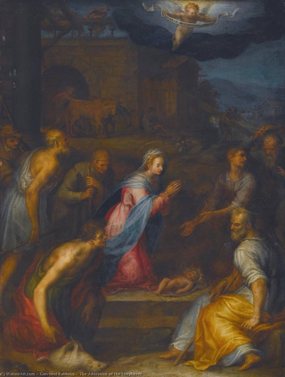 The Adoration of the Shepherds, Oil On Copper by Giovanni Balducci (1560-1631)