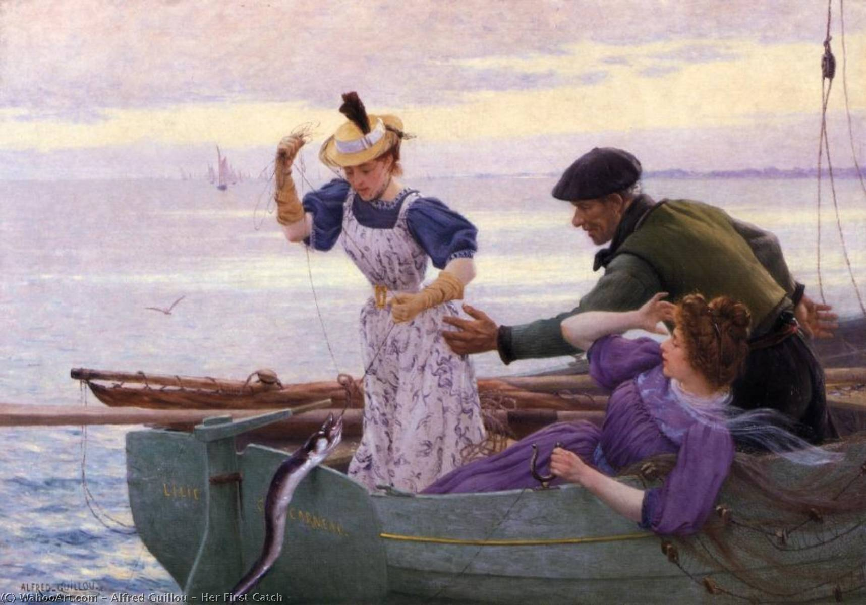 Her First Catch by Alfred Guillou (1844-1926) | Museum Quality Copies Alfred Guillou | WahooArt.com