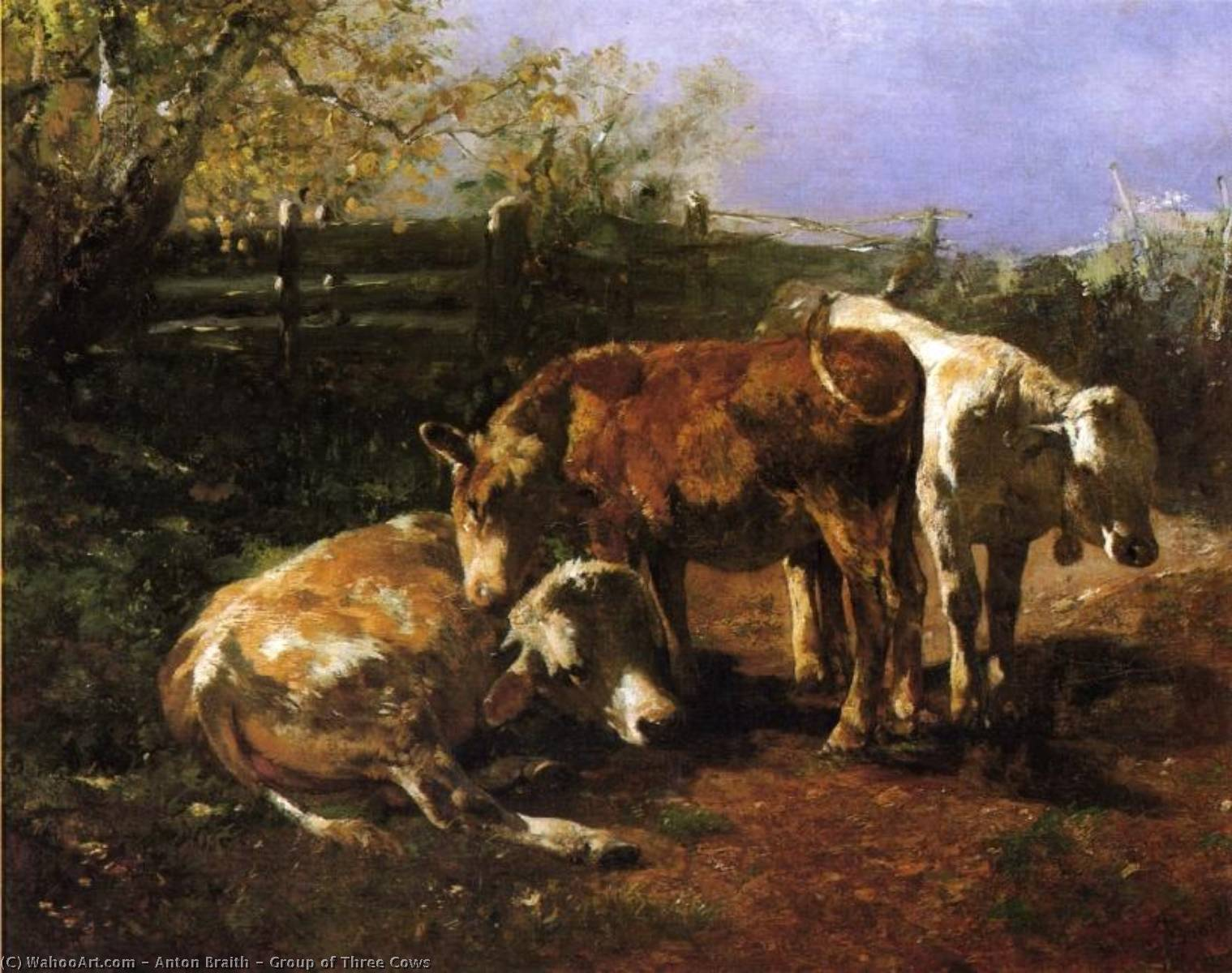 Group of Three Cows, Oil On Canvas by Anton Braith (1836-1905)