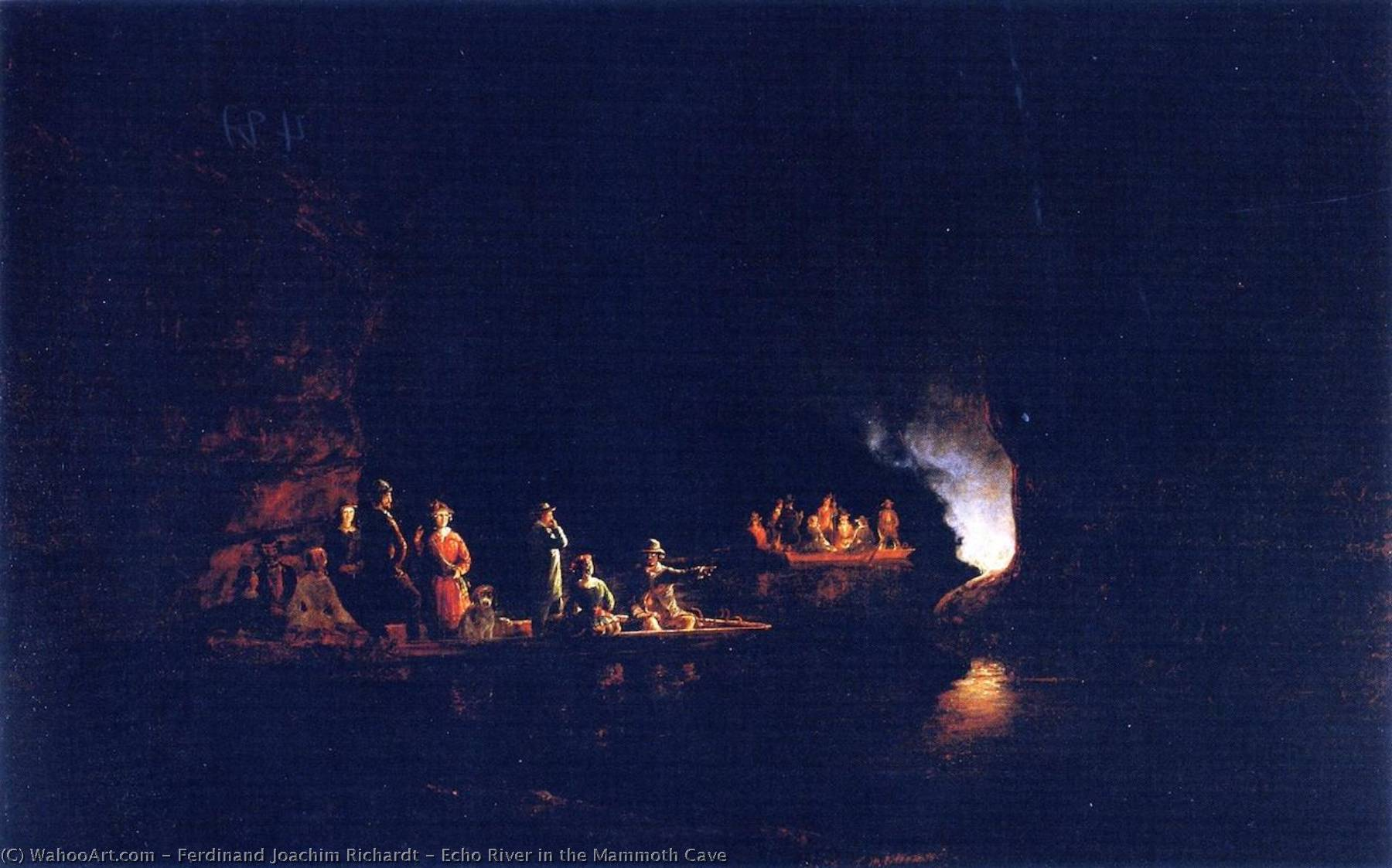 Echo River in the Mammoth Cave, 1859 by Joachim Ferdinand Richardt (1819-1895, Denmark) | Museum Quality Reproductions | WahooArt.com