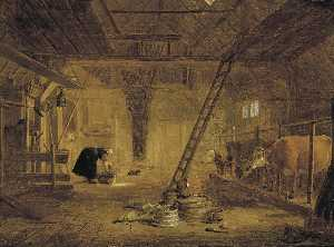 Govert Dircksz Camphuysen - A barn interior with four cows, a milk maid cleaning a pot, and earthenware pots in the foreground