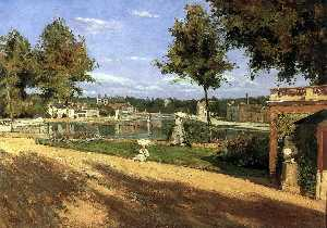 Henri Stanislas Rouart - Terrace on the Banks of the Seine at Melun