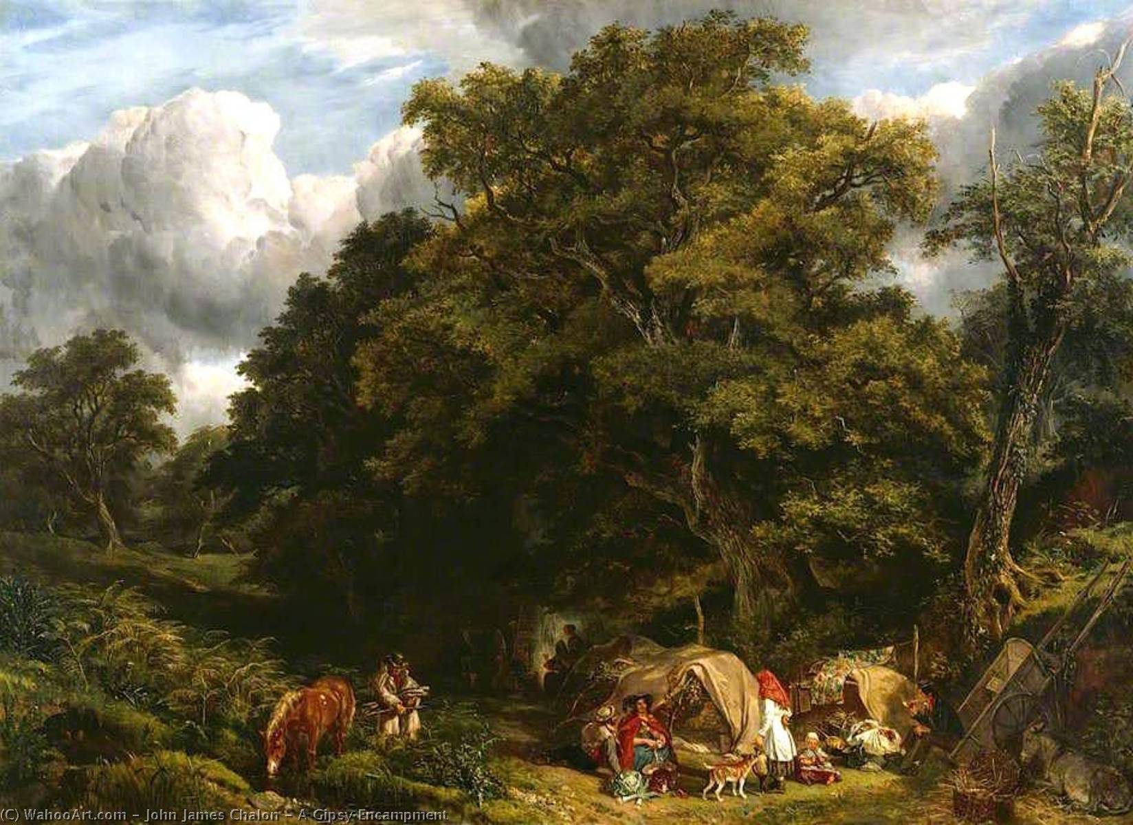 A Gipsy Encampment, Oil On Canvas by John James Chalon (1778-1854)