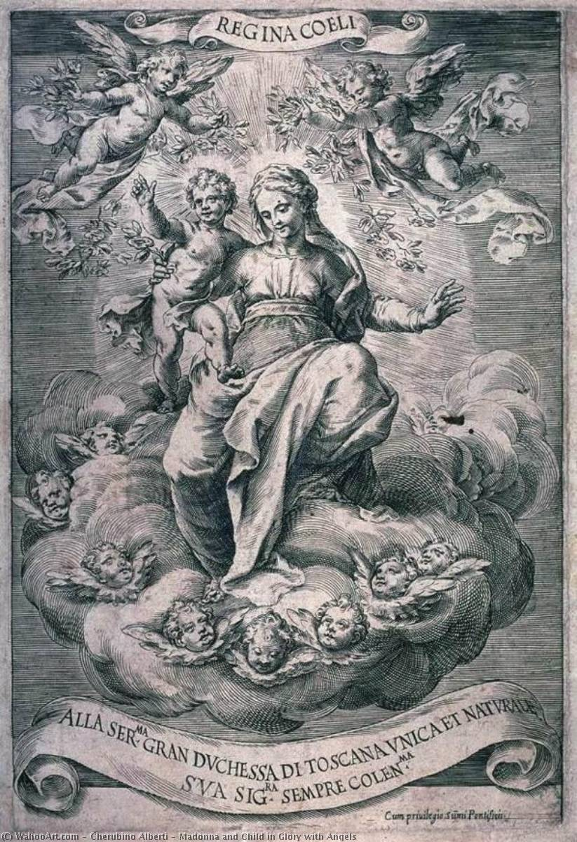 Buy Museum Art Reproductions | Madonna and Child in Glory with Angels by Cherubino Alberti (1553-1615) | WahooArt.com