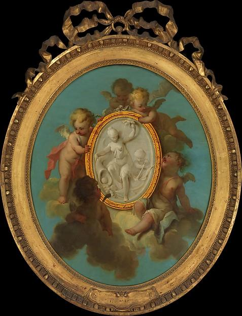 Putti with a Medallion by Charles Dominique Joseph Eisen (1720-1778) | Reproductions Charles Dominique Joseph Eisen | WahooArt.com