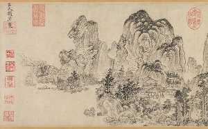 Zhao Yuan - 元 趙原 (元) 倣燕文貴范寬山水圖 卷 Landscape in the Style of Yan Wengui and Fan Kuan