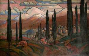 Roger Eliot Fry - Town in the Mountains with Poplars