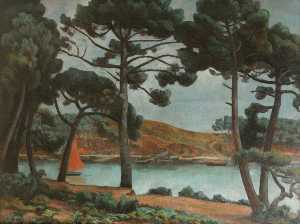 Roger Eliot Fry - Boat on a Lake, Viewed through Pines