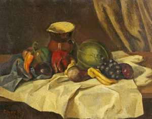 Roger Eliot Fry - Still Life Fruit with Jug
