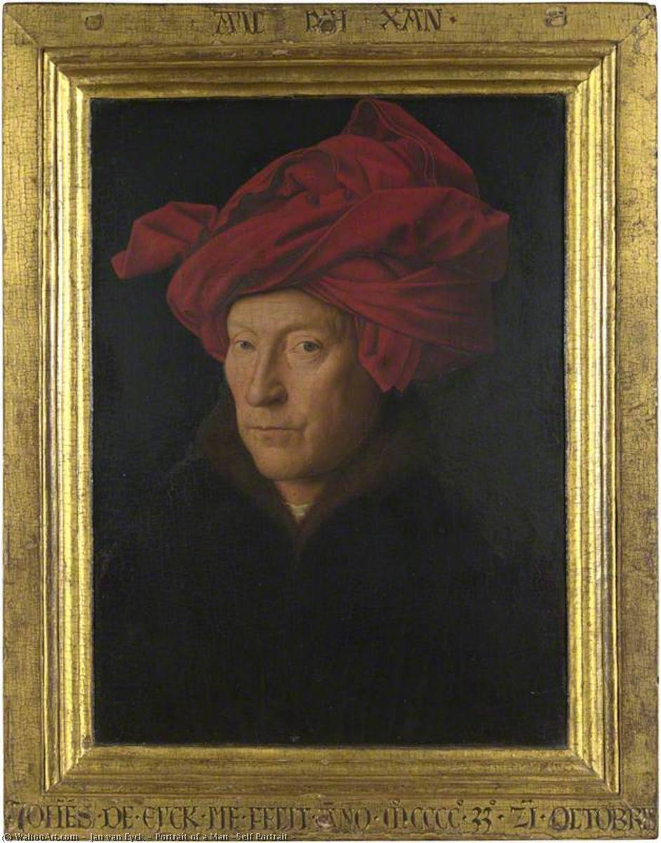 Portrait of a Man (Self Portrait ), 1433 by Jan Van Eyck (1390-1441, Netherlands) | Art Reproductions Jan Van Eyck | WahooArt.com