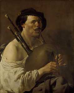 Hendrick Terbrugghen - Portrait of a Man playing the Bagpipes