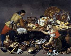 Antonio Pereda Y Salgado - Two Figures at a Table with Kitchen Utensils