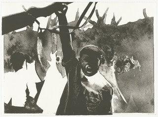 Los revolucionarios (The Revolutionaries) from Violence (La Violencia), Lithography by Rafael Canogar