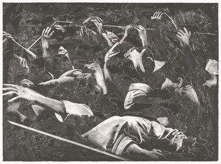 The Prisoners (Los Prisioneros) from Violence (La Violencia), Lithography by Rafael Canogar