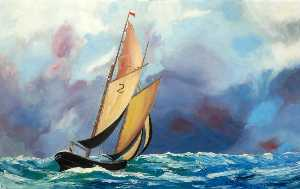 Order Reproductions | Yacht in a Choppy Sea by William Turnbull (1922-2012, Scotland) | WahooArt.com
