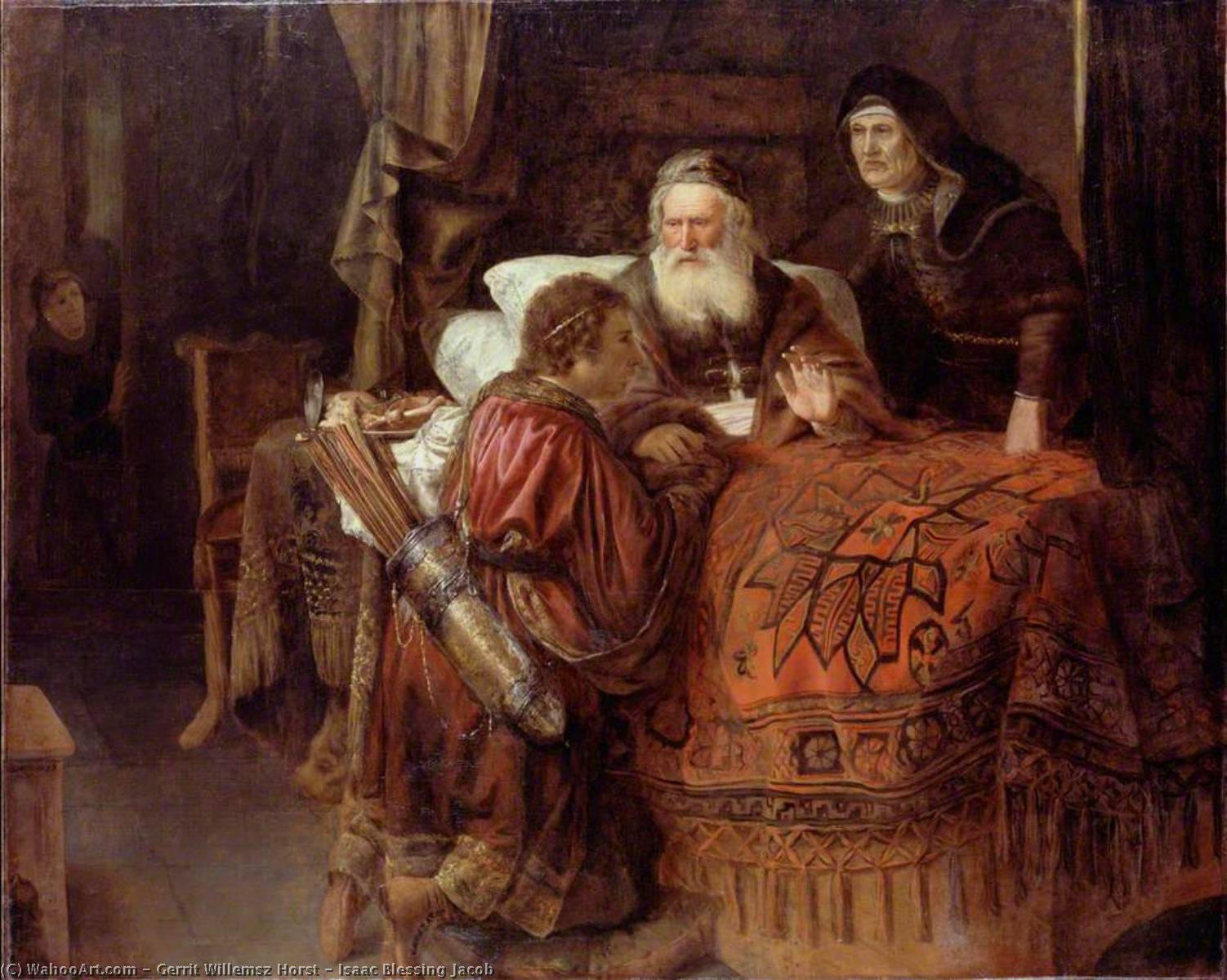 Isaac Blessing Jacob, Oil On Canvas by Gerrit Willemsz Horst (1612-1652)