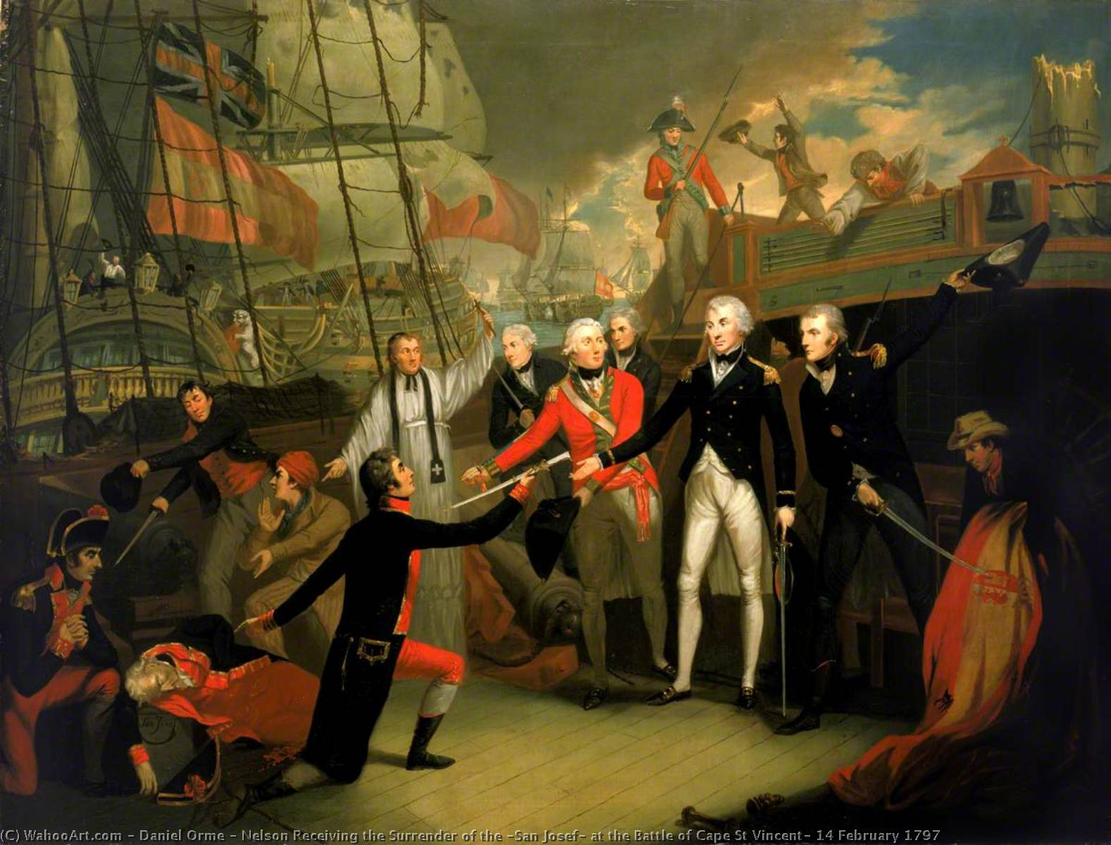Nelson Receiving the Surrender of the `San Josef` at the Battle of Cape St Vincent, 14 February 1797, 1799 by Daniel Orme | Museum Quality Reproductions | WahooArt.com