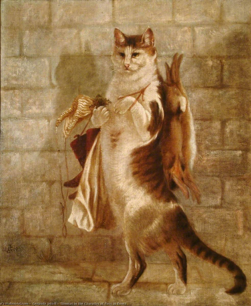 Thomas in the Character of Puss in Boots, 1869 by Gertrude Jekyll (1843-1932) | Painting Copy | WahooArt.com