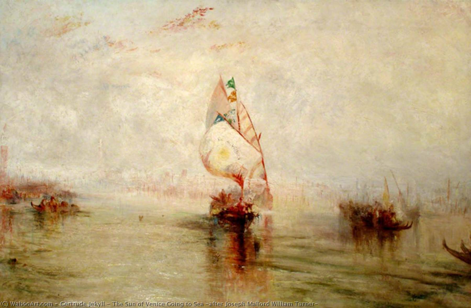The Sun of Venice Going to Sea (after Joseph Mallord William Turner), Oil On Canvas by Gertrude Jekyll (1843-1932)