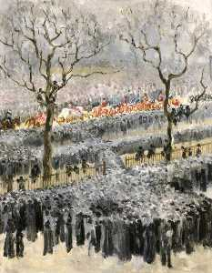 Mary Edith Durham - The Funeral Procession of Queen Victoria Passing through Hyde Park, London
