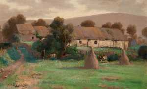 James Thomson - Highland Cottage with Cows