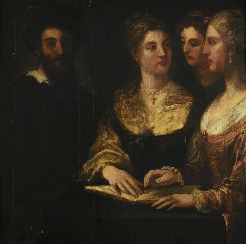 A Concert Three Ladies Singing, a Gentleman on the Left, Oil On Panel by Niccolo Dell' Abate
