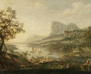 Robert Griffier - Landscape with a River and a Ferry