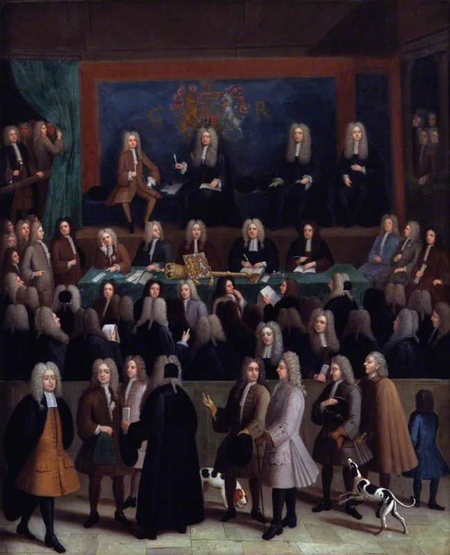 The Court of Chancery during the reign of George I, Oil On Canvas by Benjamin Ferrers