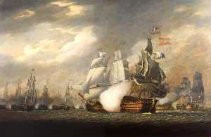 Order Museum Quality Reproductions : The `Victory` Raking the Spanish `Salvador del Mundo` at the Battle of Cape St Vincent, 14 February 1797, 1798 by Robert Cleveley (1747-1809) | WahooArt.com