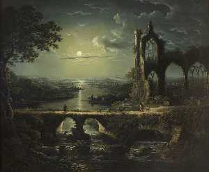 William Pether - Moonlit River Scene with a Ruined Gothic Church, and a Stone Bridge with an Angler