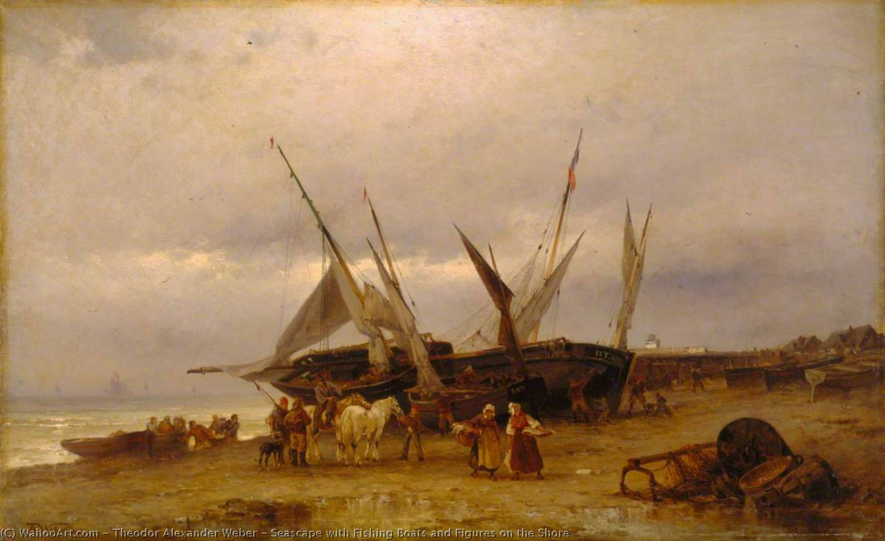Seascape with Fishing Boats and Figures on the Shore, Oil On Canvas by Theodor Alexander Weber (1838-1907)