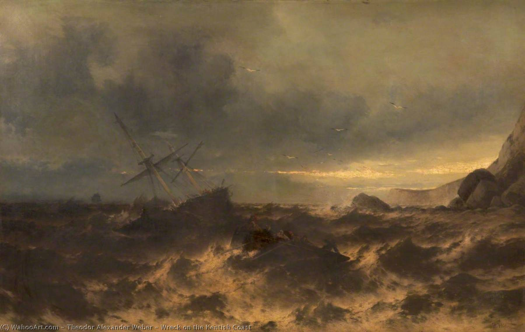 Wreck on the Kentish Coast, Oil On Canvas by Theodor Alexander Weber (1838-1907)
