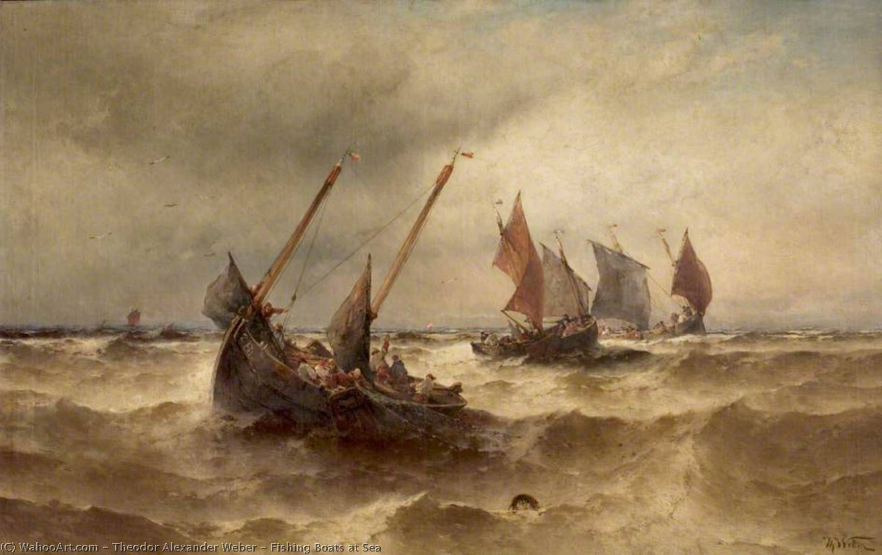 Fishing Boats at Sea by Theodor Alexander Weber (1838-1907) | Oil Painting | WahooArt.com