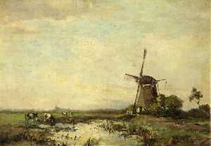 Jan Van Der Linde - Windmill and a Pond