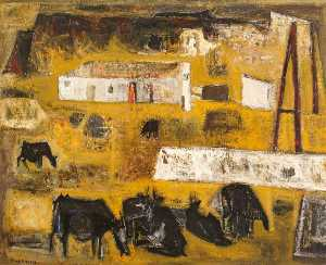 Raymond Guerrier - Landscape with Cattle and Easel